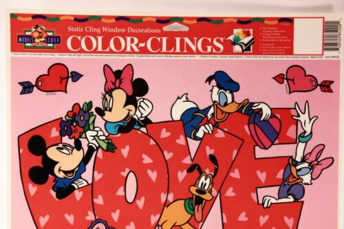 """One 10 In X 17 In Sheet Color Clings  Valentine/'s /""""Mickey Mouse/"""" Reusable. 1"""