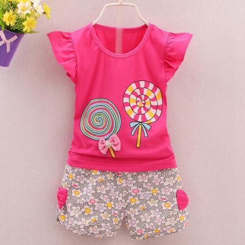 2PCS Toddler Kids Baby Girls Outfits T-shirt Tops+Short Pants Clothes Set NEW