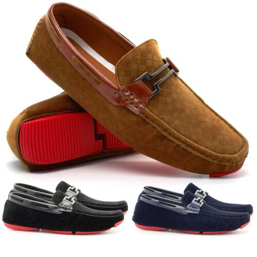 New Mens Faux Suede Casual Loafers Italian Slip On Driving Shoes Moccasins UK