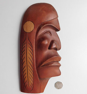 Squamish Chief carved wooden plaque Native American Aboriginal art Barry D Baker