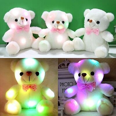 LED Teddybär Kuscheltier Stofftier Nachtlicht Bunte Glühende Plüschbär Gift 20cm