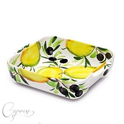 Capace Bassano Ceramica Sformato Forme Casseruola Limone Con Motivo Olive Dall'italia Nuovo-