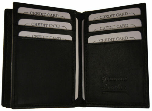 Genuine Leather Men/'s Bifold 22 ID redit Cards Expandable Holder