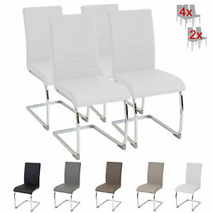 esszimmerst hle burano 4er set weiss freischwinger schwing stuhl chrom leder set ebay. Black Bedroom Furniture Sets. Home Design Ideas