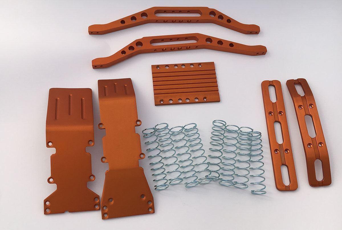 T-maxx, S-Paquete de aluminio anodizado naranja Maxx Con Plata Dual Rate Sprin Gratis