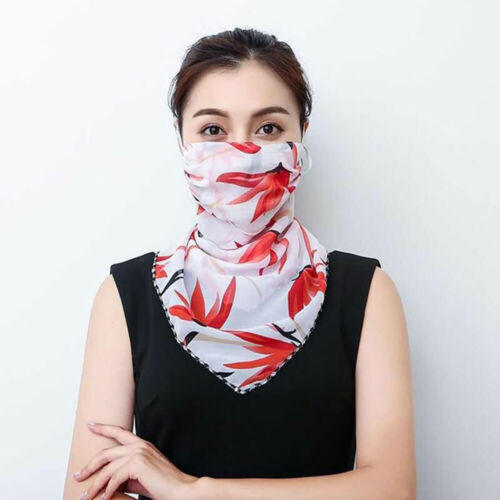 Soft Face Scarf Reusable Hanging Ear Windproof Chiffon Anti-Dust Casual UK
