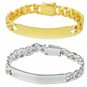 9489817452bfc Details about Personalised Mens Silver / Gold Plated ID Bracelet Birthday  Gift. FREE engraving