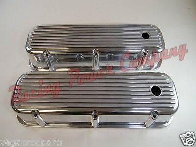 POLISHED ALUMINUM SHORT VALVE COVERS BALL MILLED 65-95 CHEVY BB 396 427 454 502
