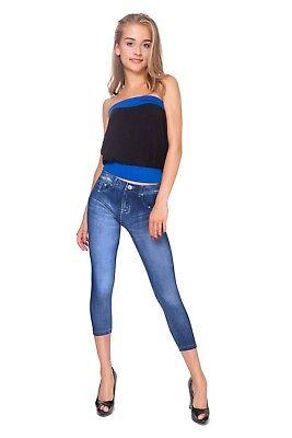 Gastfreundlich Women Denim Immitation Leggings Ladies Slimming Capri Mid Waist 3/4 Pants Fs6701 Eine Hohe Bewunderung Gewinnen