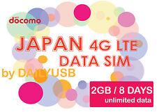 JAPAN DATA SIM UNLIMITED DATA 4G LTE 2GB 8 DAYS PREPAID SIM NTT DOCOMO NO REG