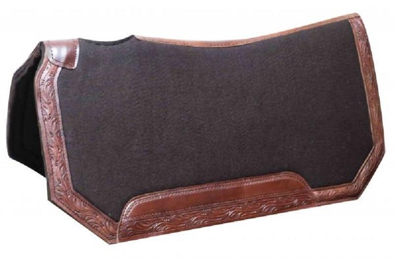 Showman® 30  x 30 x 1  Brown Felt Saddle Pad W  Tooled Leather Trim