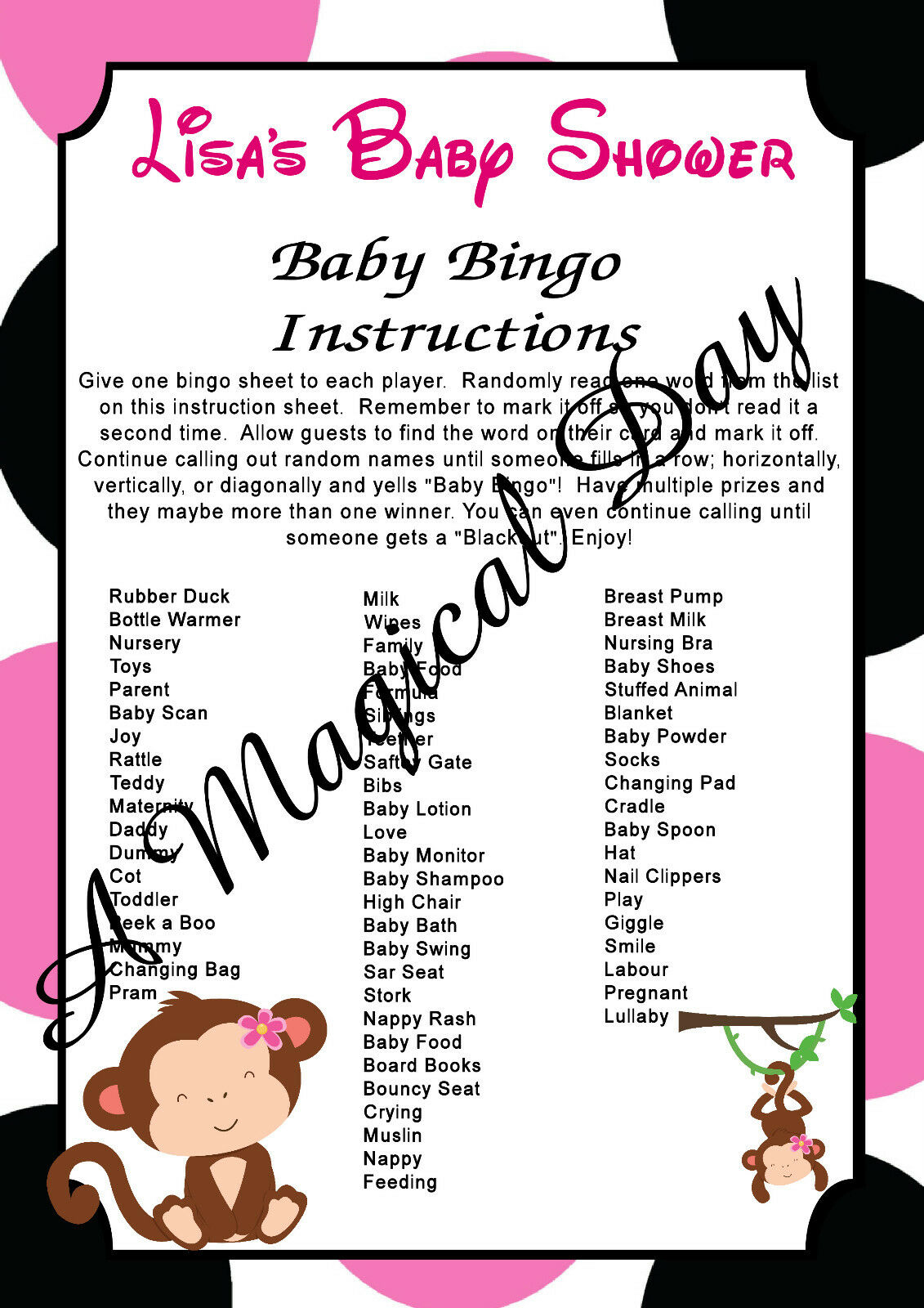 Maternity & Pregnancy Products Personalised Baby Shower Bingo ...