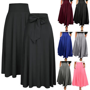 d914e12dd9497a Women High Waist Pleated A Line Long Skirt Front Slit Belted Party ...