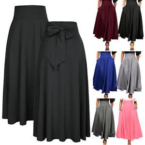 Women-High-Waist-Pleated-A-Line-Long-Skirt-Front-Slit-Belted-Party-Maxi-Dress