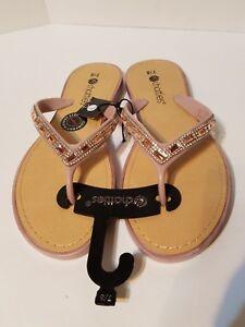 7644a68c0600 Chatties Spring Fashion Sandals Flip Flops Tan Light Pink Size 7 8 ...