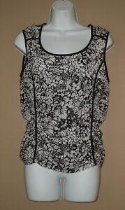 Nine-West-Womens-Size-Medium-Sleeveless-Black-White-Floral-Blouse-Tank-Top-Shirt