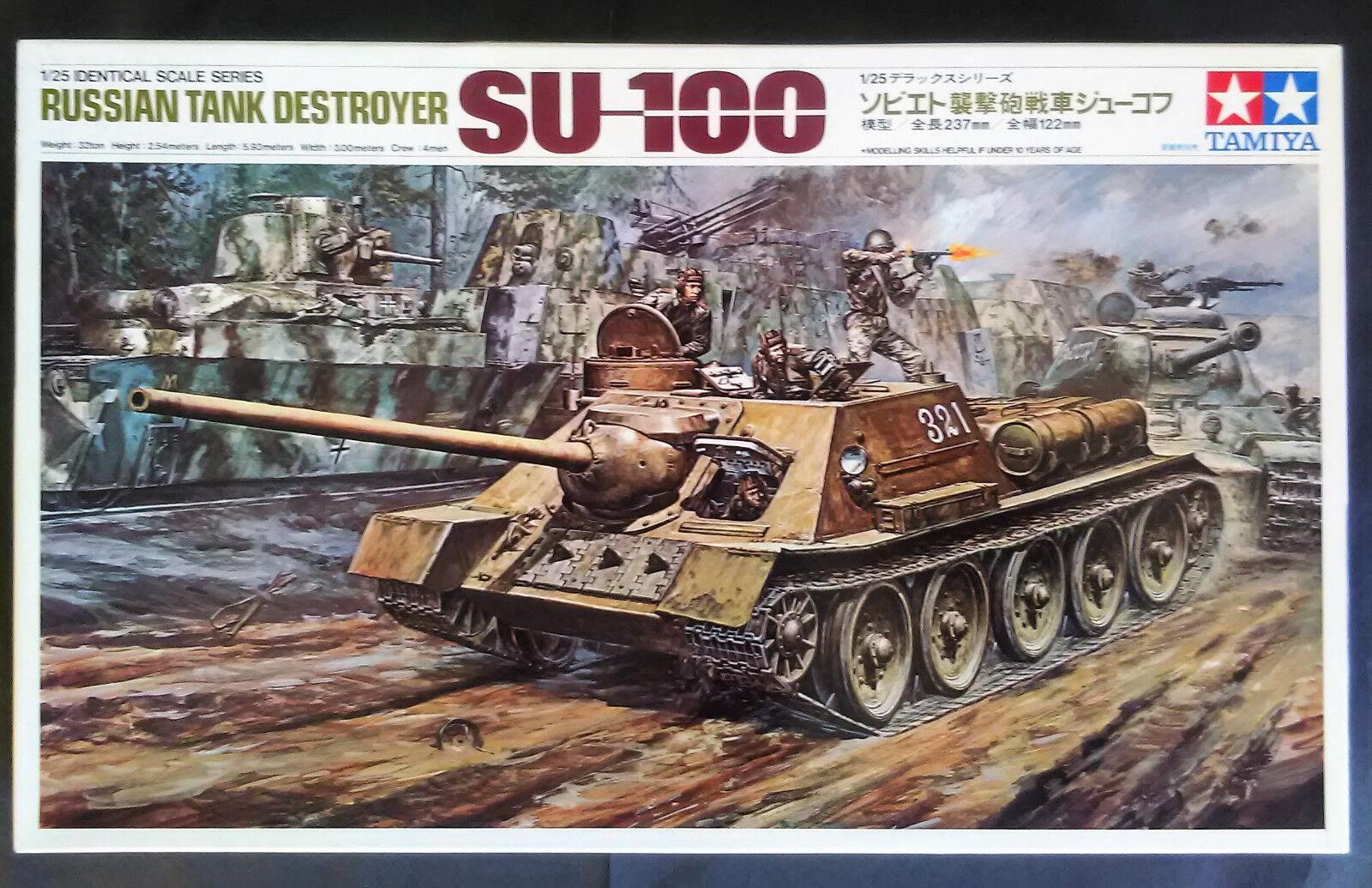 Vintage and rare 1 25 Tamiya SU-100 Soviet Tank Destroyer model kit