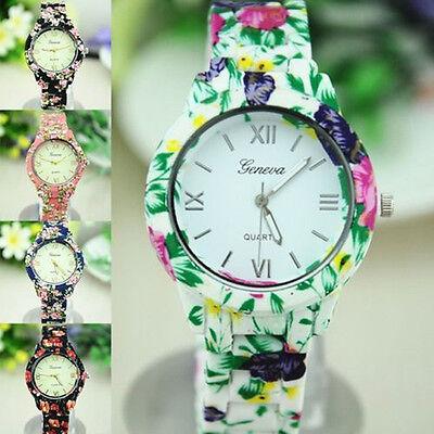 Women's Fashion Geneva Flower Print Ceramic Style Analog Quartz Wrist Watch