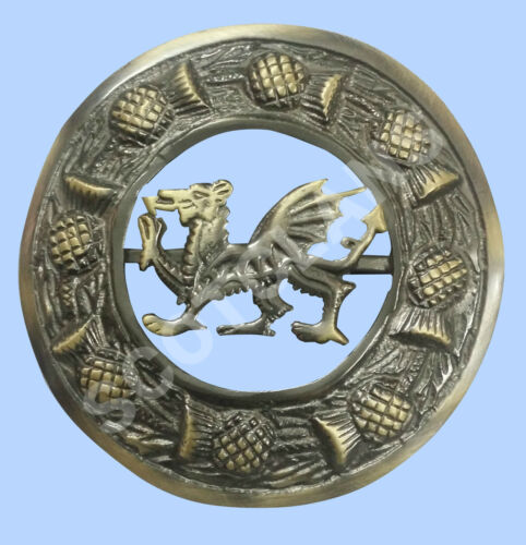 Scottish Full Dress Kilt Sporran Dragon Antique Celtic Cantle Set Of 4