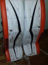 (WHL) MEDICINE HAT TIGERS Marek Langhamer game-worn Vaughn goalie pads 2014-2015