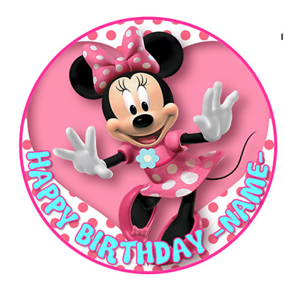 Peachy Minnie Mouse Personalised Edible Icing Cake Decoration Topper Funny Birthday Cards Online Necthendildamsfinfo