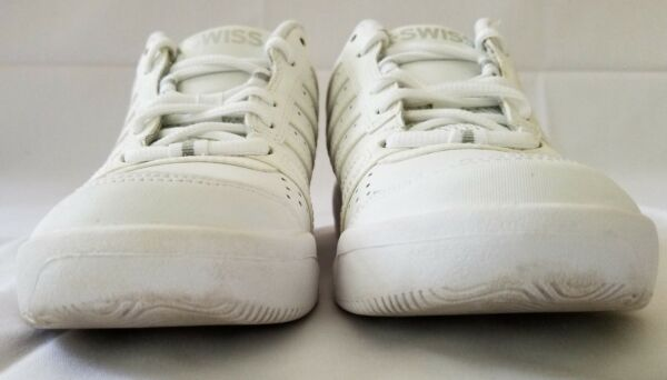 53659b1b372b K-Swiss Shock Spring Women s White Leather Tennis Shoes Size 9. Hover to  zoom