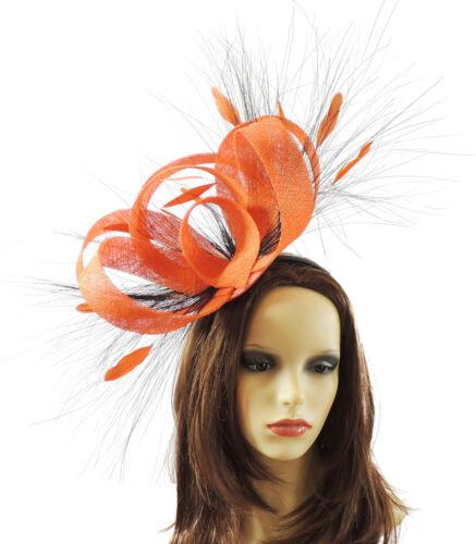 Orange Fascinator for Ascot Derby R1 Proms Weddings
