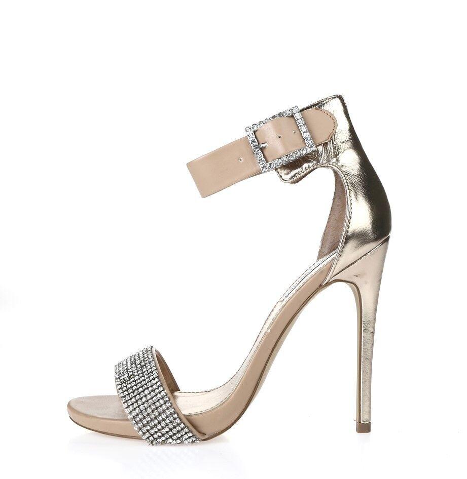 Womens STEVE MADDEN beige   rhinestones cocktail heels shoes sz. 8 M NEW