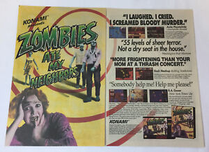 1993-Konami-two-page-video-game-ad-ZOMBIES-ATE-MY-NEIGHBORS