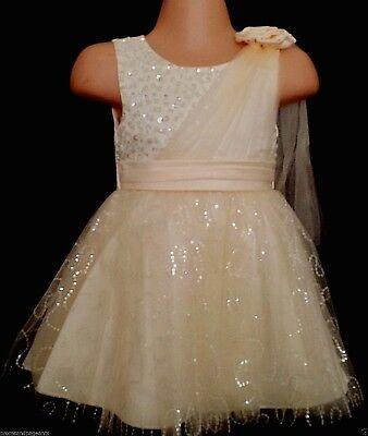 Bello Crema Luccicante Battesimo Flower Girl Pageant Damigelle Partito Abito Xmas 0-24m-