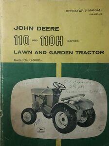 John-Deere-110-Round-Fender-Garden-Tractor-amp-42-Blade-Owner-amp-Parts-3-Manuals