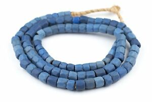 Faceted-Russian-Blue-Glass-Trade-Beads-10mm-Long-Strand-Ghana-African-Large-Hole