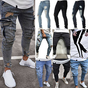 Men-Ripped-Biker-Skinny-Jeans-Frayed-Destroyed-Trousers-Casual-Denim-Pants-S-XL