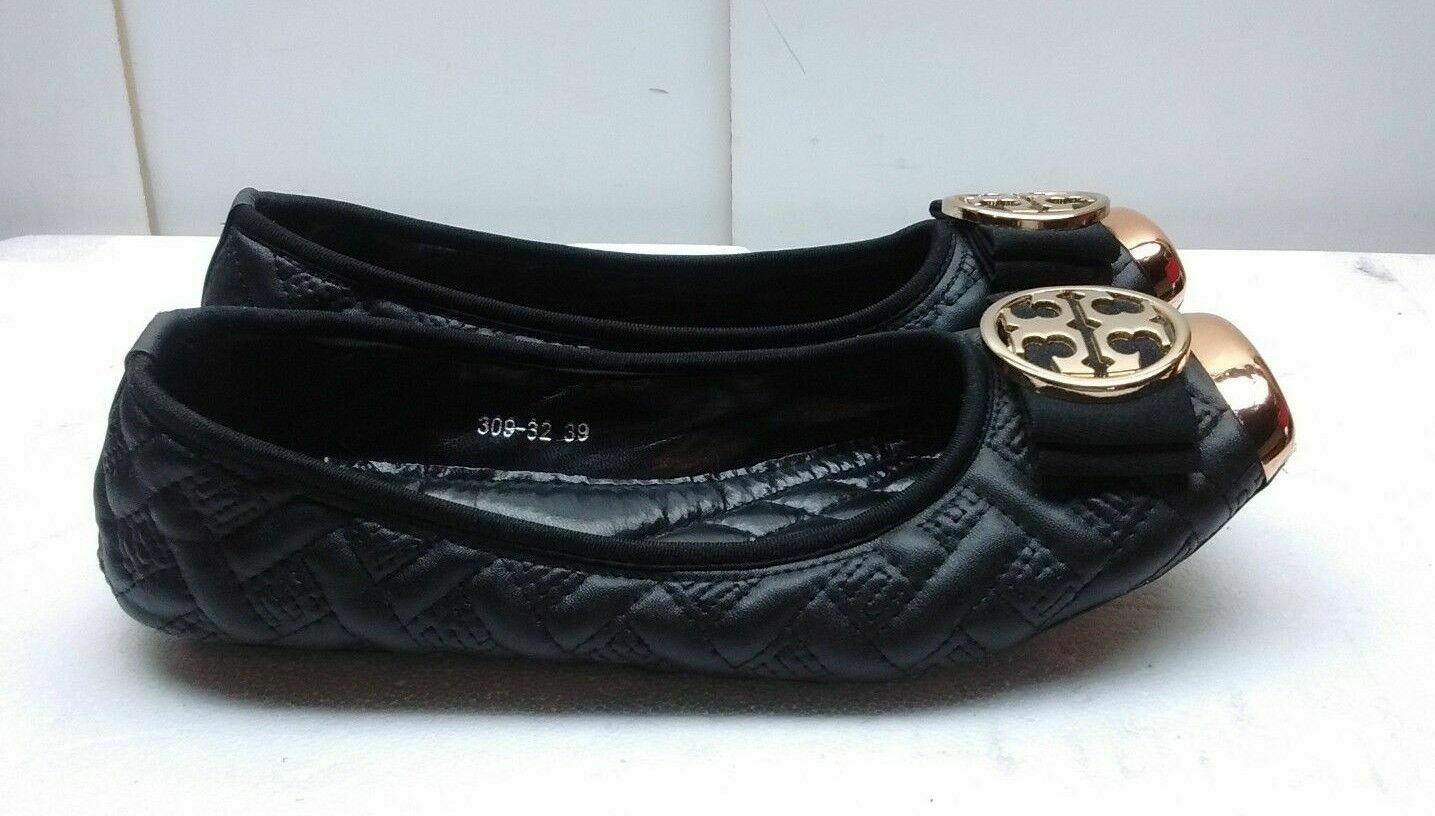 S&H nero Faux Quilted Leather Slip On Bow Btuttiet Flats Pump Wouomo sautope 8M 39