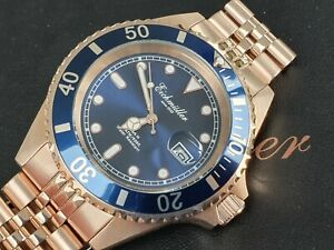 Taucheruhr-Submariner-Meter-durch-deutsche-Marke-eichmuller-Jubilee-Rose-Gold-blau