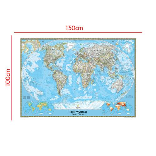 150*100//150*225CM Blue Fun Mark Map Background World Physical Wall Décor Print