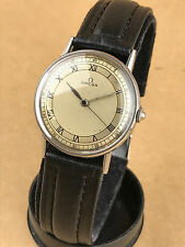 1940s OMEGA CLASSIC SILVER DIAL ROMAN NUMERALS STAINLESS STEEL CASE WATCH