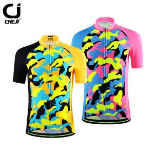 CHEJI-Kids-Cycling-Jersey-Reflective-Youth-Cycle-Bike-Shirts-Tops-Pink-Yellow