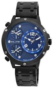 Elite-Herrenuhr-Blau-Schwarz-Tripe-Time-3-Zeiten-Analog-Armbanduhr-X2800062004