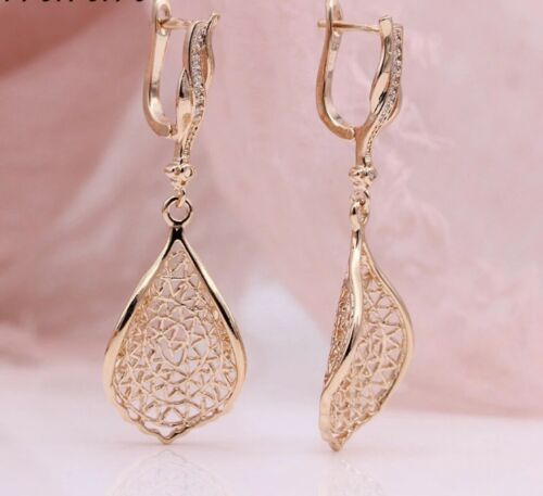 Stunning  9ct Rose Gold gf Unique Drop Leaf Earrings Gold Bling Free Gift Box