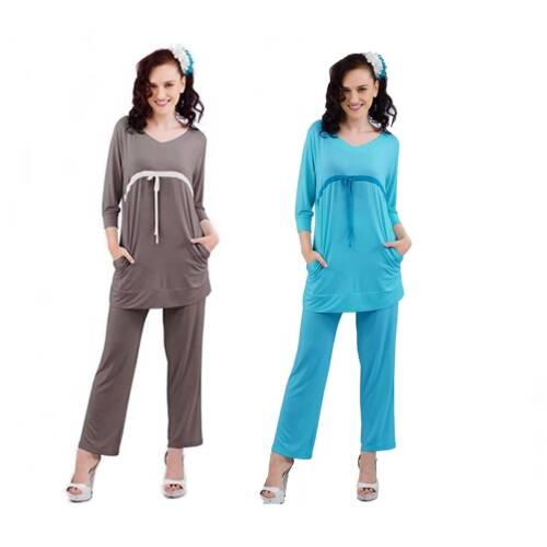 Damen Schlafanzug-Pyjama Set Bodenlang Yogawear Frecher Zweiteiler Nachtwäsche
