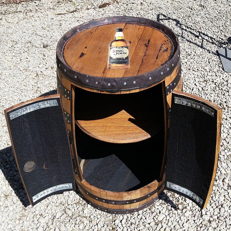 En chêne massif whisky tonneau Recyclé en Bois PUB Table armoire de rangement vintage