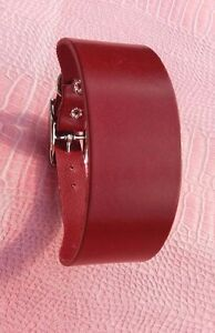 LEATHER-WINE-RED-WHIPPET-MED-SIZE-DOG-BAR-COLLAR-ADJUST-12-5-034-14-5-034