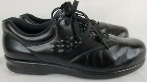 SAS-Womens-Size-10-S-Slim-Black-Leather-Free-Time-Tri-Pad-Comfort-Shoes-EUC