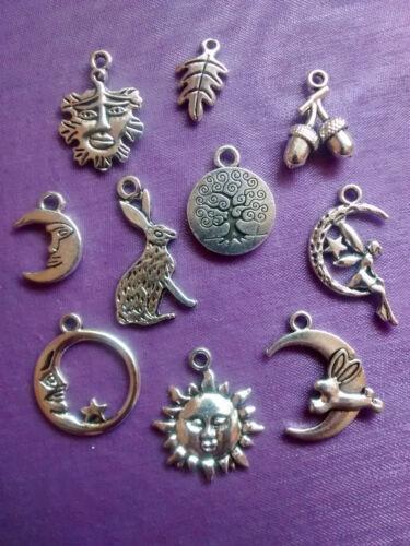 5 8 10 Tibetan Silver Charms Pendant WICCA PAGAN Green Man Acorns Oak Leaf Hare