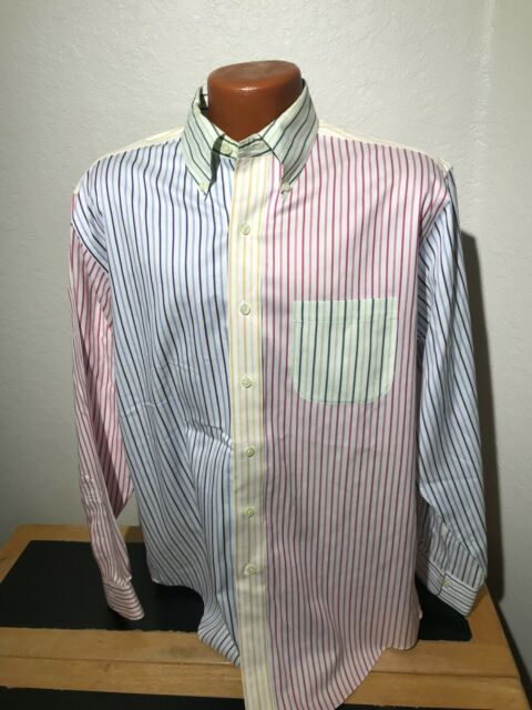 Mens Brooks Brothers 346 L/S Button Front Shirt Size Medium (M) Non Iron Striped