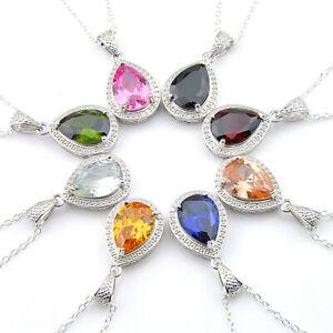 Teardrop-Natural-Citrine-Garnet-Morganite-Topaz-Gemstone-Silver-Necklace-Pendant