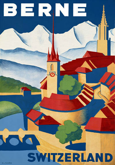 TR44 Vintage Switzerland Berne Swiss Travel Poster Re-Print A4