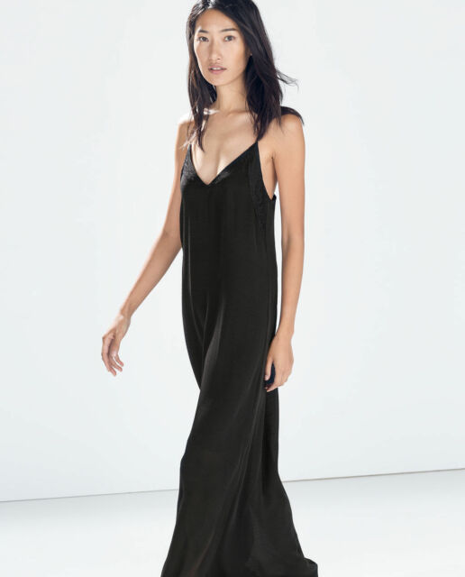 ZARA BLACK LOW CUT MAXI LONG DRESS WITH LACE COMBINATION DETAIL SIZE S