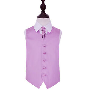 DQT-Satin-Plain-Solid-Lilac-Boys-Wedding-Waistcoat-amp-Cravat-Set